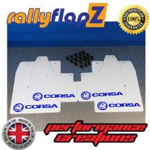CORSA C (2000-2007) WHITE MUDFLAPS KIT (Logo Dark Blue)